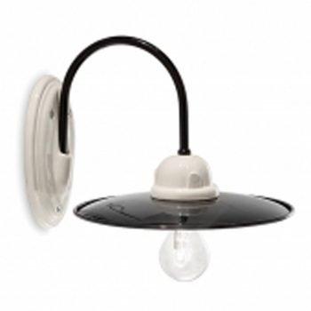 Applique lampada parete ceramica bw ferroluce retro C001