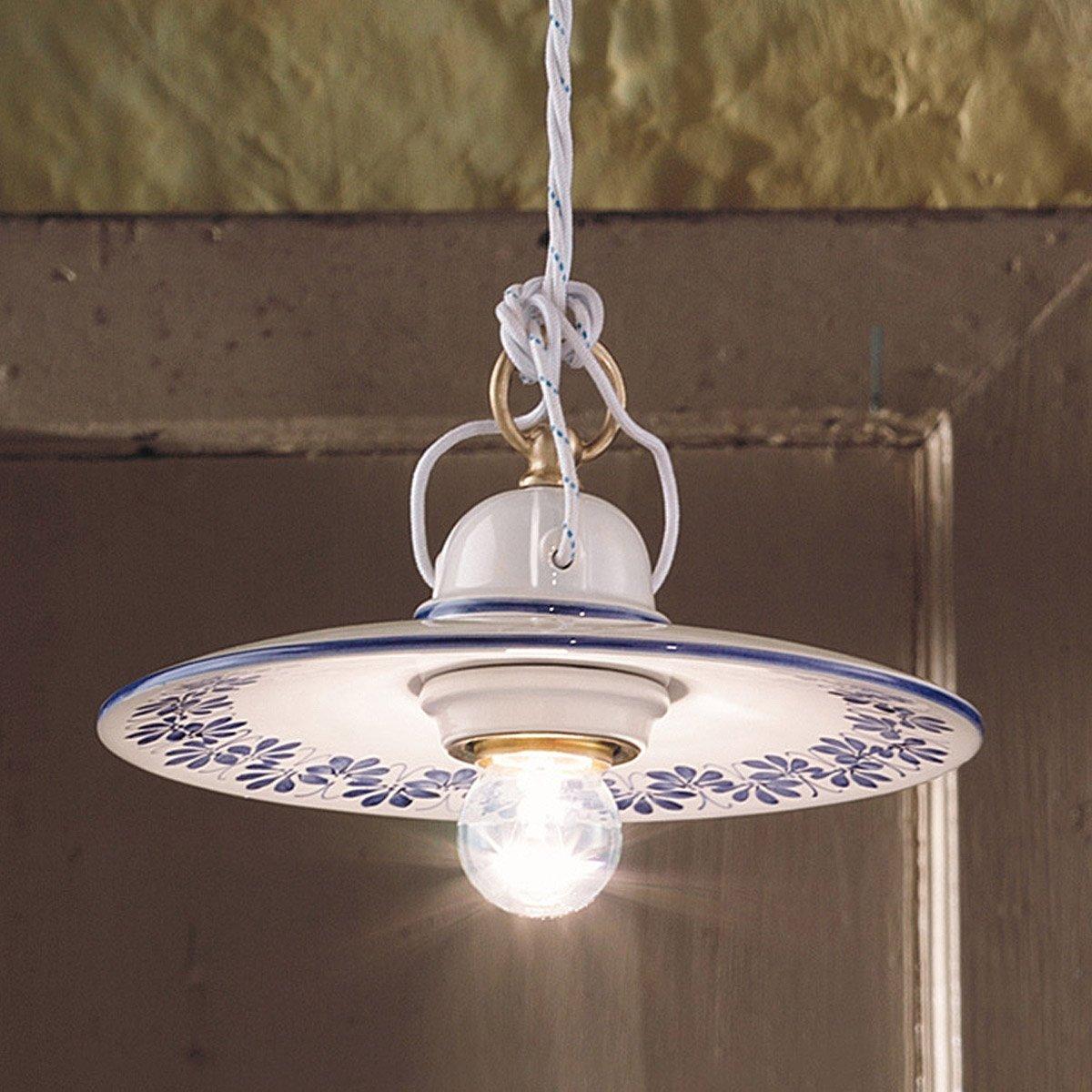 Lampadari In Ceramica.Lampadario In Ceramica Torino Decoro Rustico C658so