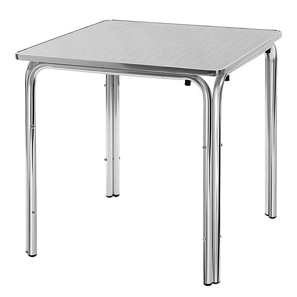 Tavolo Da Esterno Alluminio.Tavolo Da Esterno 4 Gambe In Alluminio E Ripiano In Acciaio Inox 80x80 Cm